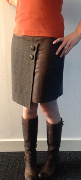 asymmetric leather panel skirt