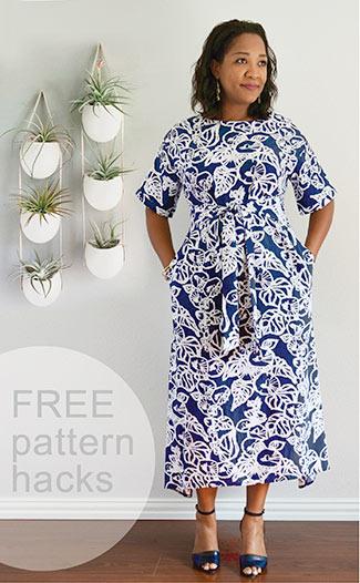 FREE pattern hacks for the Tie Belt Dress